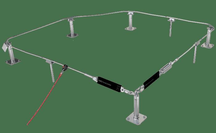 Grafik einer Absturzsicherung, bei der das Verbindungsmittel nur einmal am Gleiter festgemacht wird.