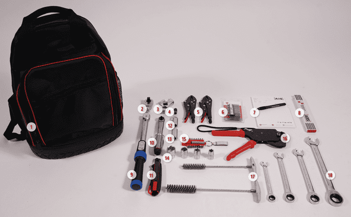 Image showing our toolkit - specially designed for technicians who have to install lifeline systems and anchorage devices