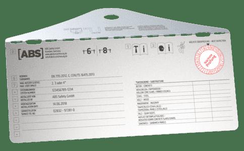 Grafik des Systemschildes für Sicherungssysteme, z.B. Seilsicherungssystem, zum Schutz gegen Absturz.