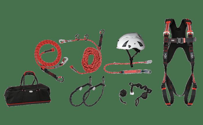 Productafbeelding van de complete set PBM tegen vallen ABS Profi Roofer Kit voor dakdekkers