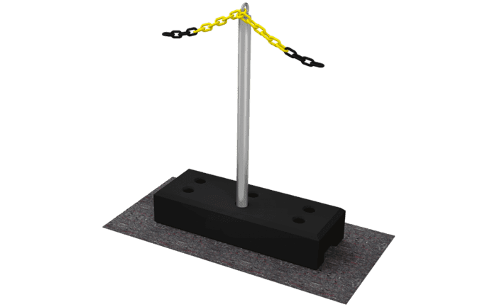 Image showing the pedestal of an ABS BorderMark barrier chain system - specially designed to cordon off a fall danger zone