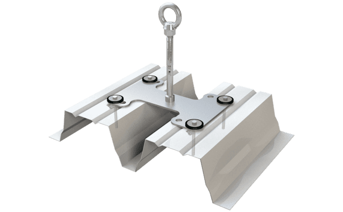 Image showing a stainless steel ABS-Lock X-T-21 anchor for warm roofs - designed with pre-drilled holes at different intervals for more flexibility