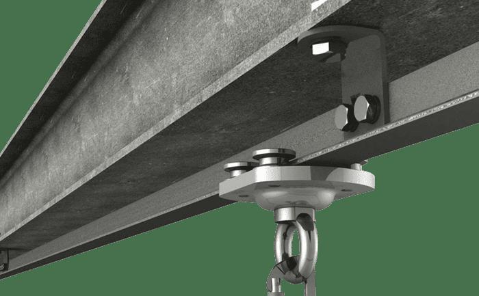 Grafik einer am Stahlträger installierten Anschlageinrichtung mit Edelstahl-Rollengleiter.