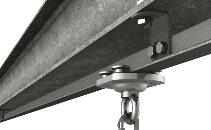 Image showing a stainless steel ABS RailTrax anchorage device attached to a steel girder