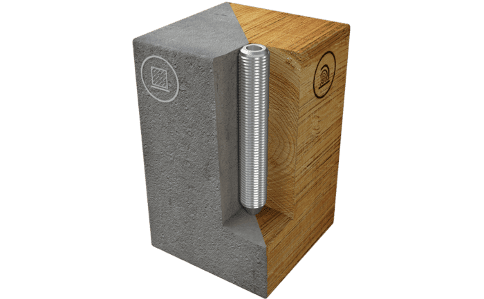 This image shows an ABS-Lock II sleeve which has been specially designed for installation in concrete and on wooden surfaces