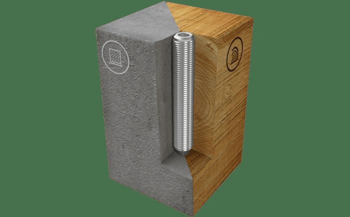 Afbeelding van de ABS-Lock II opname voor installatie in beton en hout.