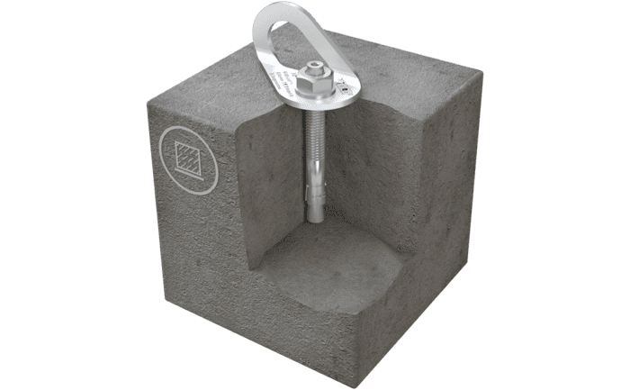 Image showing an ABS-Lock V-B anchorage point for concrete which comes with a discreet anchorage tab for attaching PPE equipment