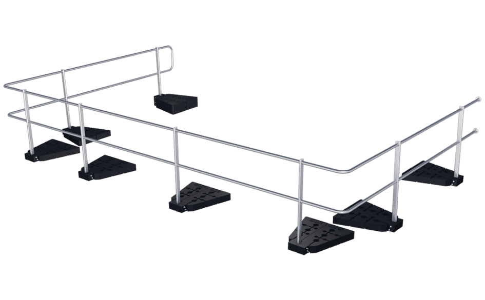 Image showing our ABS Guard OnTop Weight guard rail system with plastic weights installed on a flat roof using weights - provides lateral protection