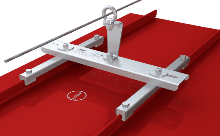 Grafik des Zwischenhalters eines ABS-Seilsicherungssystems auf einem Spezialfalz-Dach.