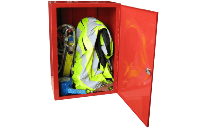 Photo showing personal fall arrest equipment stored in an ABS Care+ locker