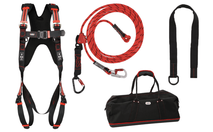 Roofer Kit containing a selection of different fall arrest components for individual protection