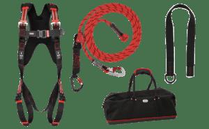 Kit pour couvreurs avec les différents composants d'un Équipement de Protection Individuelle antichute