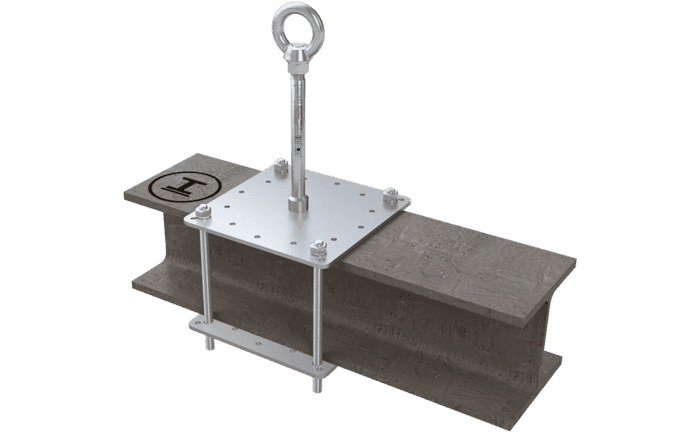 Image showing an ABS-Lock X-Klemm anchor clamped onto a steel girder