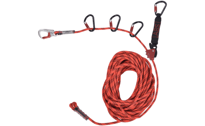 Image showing a specially-designed ABS Lanyard - temporary lifeline system which comes with several carabiners and a force absorber