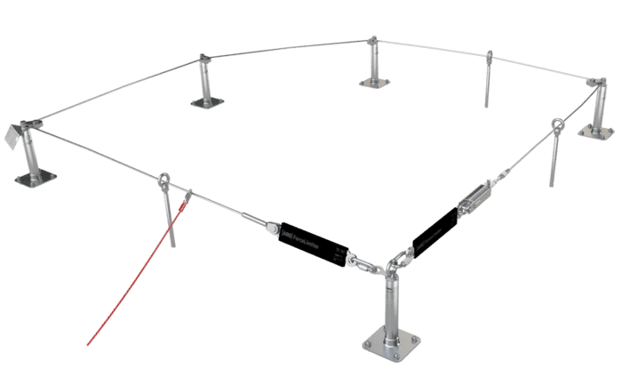 Image showing a non-traversable fall arrest solution based on a stainless steel cable