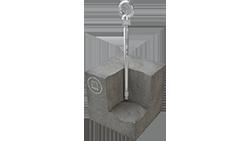Grafik eines im Betonuntergrund verankerten Sekuranten, der mit einem einzigen Spezialdübel installiert wird.
