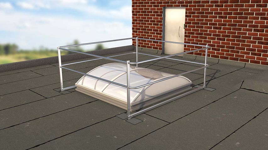 Image showing a domed rooflight secured by an ABS Dome OnTop Fusion guard rail